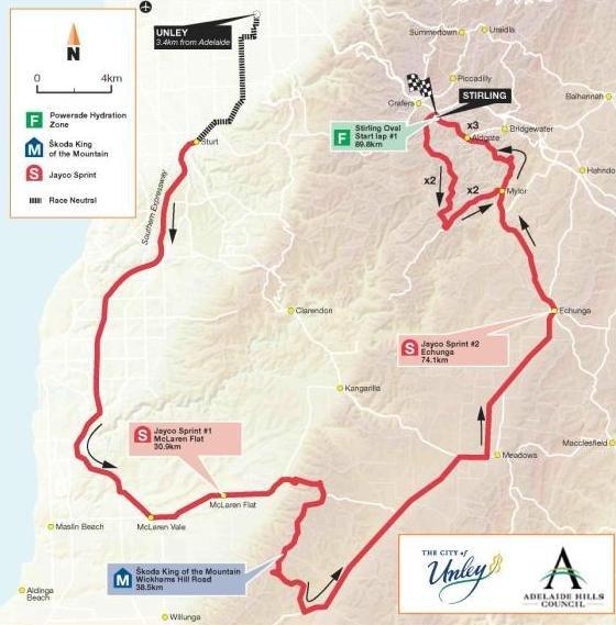 Сантос Тур Даун Андер - 2010. Этап 3 - карта