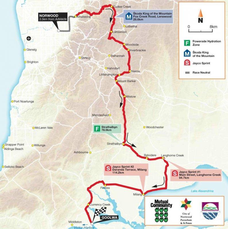 Сантос Тур Даун Андер - 2010. Этап 4 карта