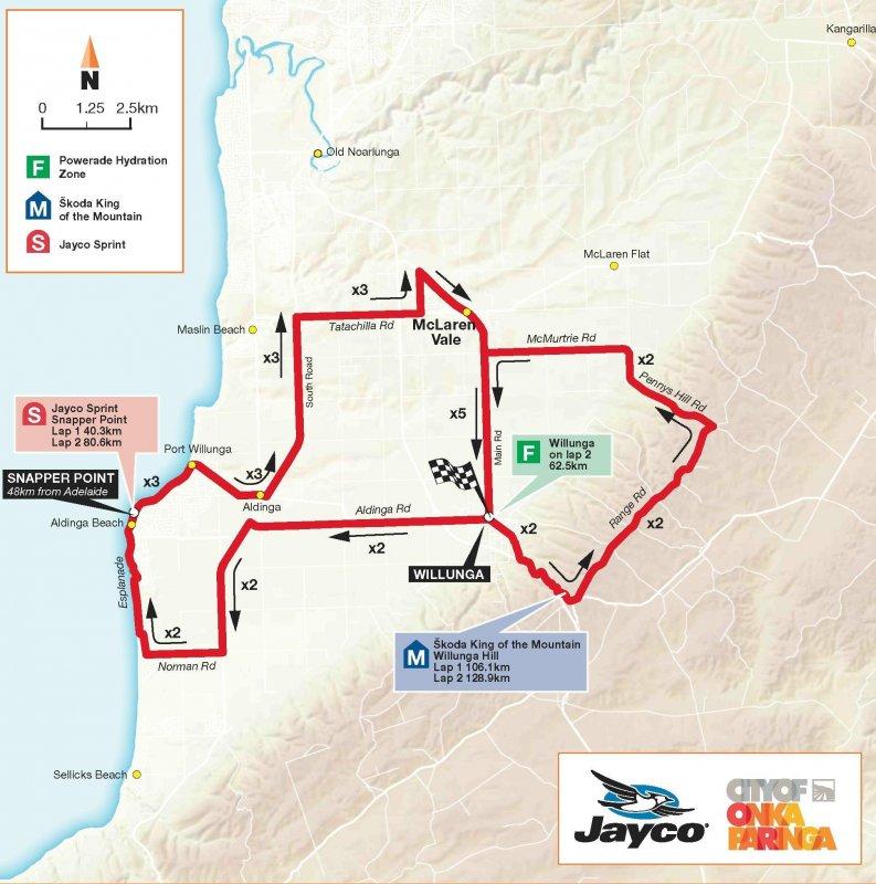 Сантос Тур Даун Андер - 2010. Этап 5 карта