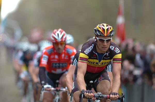 Tom Boonen (Quick Step) and Fabian Cancellara (Saxo Bank)