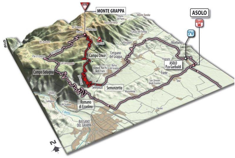 Спуск с Монте Граппы на Джиро д'Италия-2017