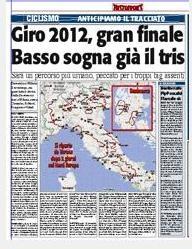 Карта Джиро-2012