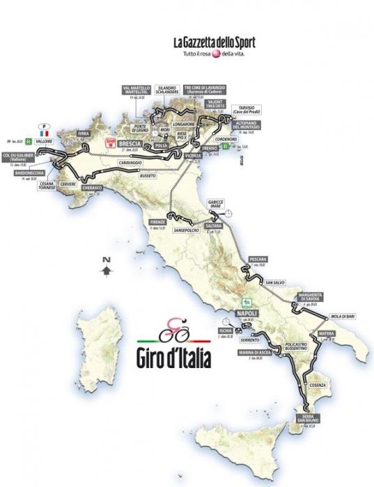 Джиро д'Италия-2013. Маршрут