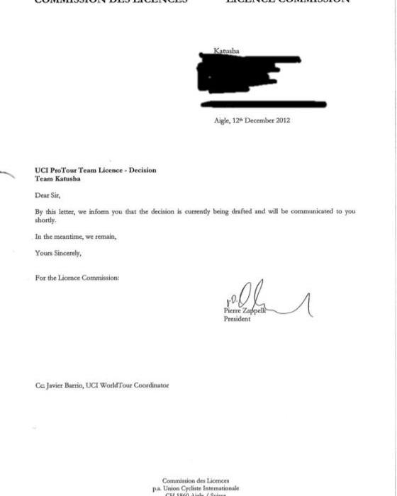 """Катюша"" получила ответ UCI"