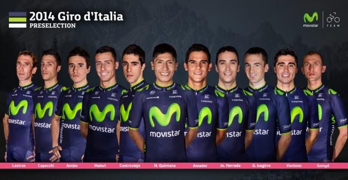 Предварительный состав команды Movistar на Джиро д'Италия-2014