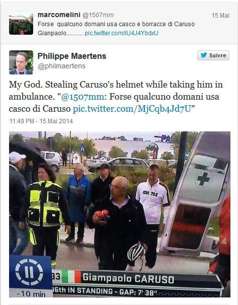 Джиро д'Италия-2014: зритель украл велосипедный шлем Карузо