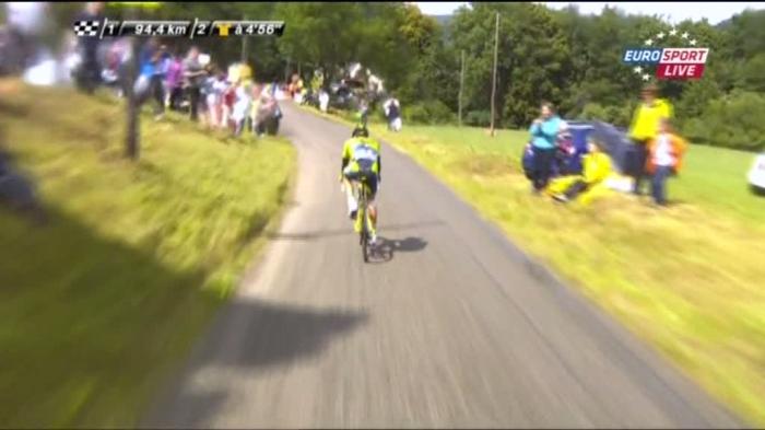 Падение Альберто Контадора на 10-м этапе Тур де Франс-2014