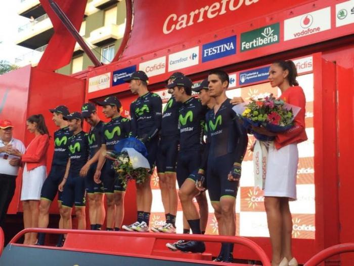 Команда Movistar - победитель TTT 1-го этапа Вуэльты Испании-2014