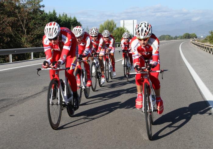 Тренировка «РусВело» перед командной гонкой на чемпионате мира
