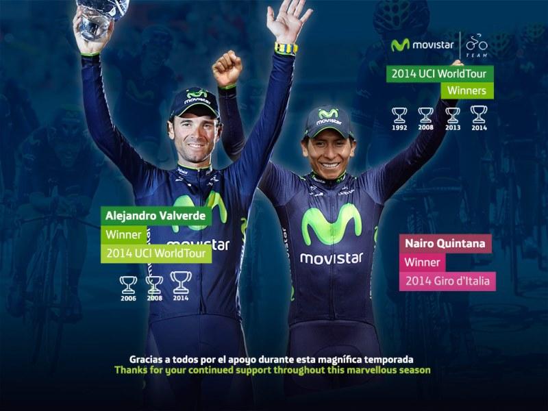 1-е место команды Movistar в рейтинге Мирового Тура 2014 года