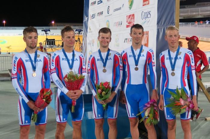 Гонщики «РусВело» на подиуме чемпионата Европы