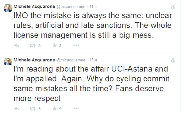 Микеле Аквароне о конфликте UCI - Astana