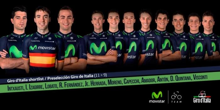 Предварительный состав команды Movistar на Джиро д'Италия-2015