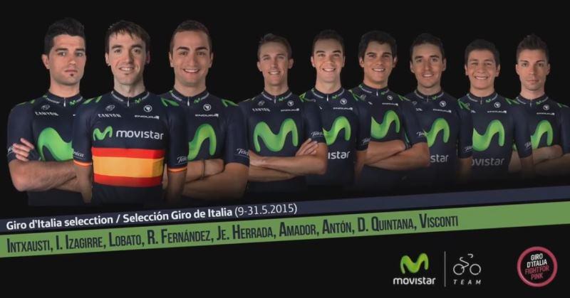 Состав команды Movistar на Джиро д'Италия-2015