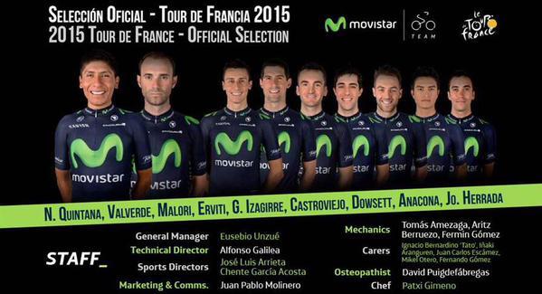 Состав команды Movistar на Тур де Франс-2015