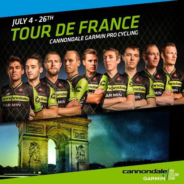 Новая майка и велосипед для состава команды Cannondale-Garmin на Тур де Франс-2015