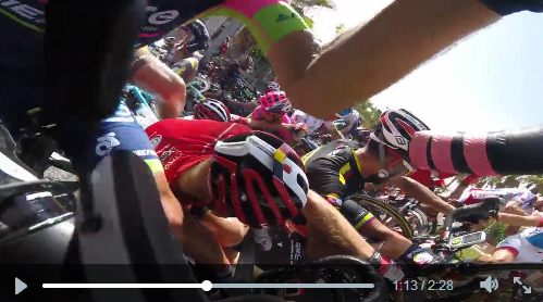 Видеокамеры на велосипедах. Вуэльта Испании-2015, 8 этап - завал
