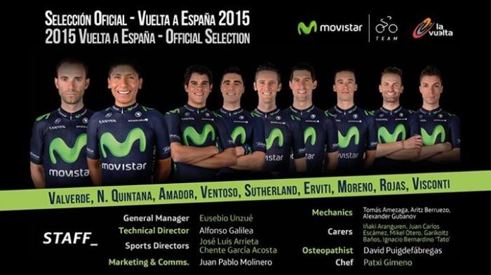 Состав команды Movistar на Вуэльту Испании-2015