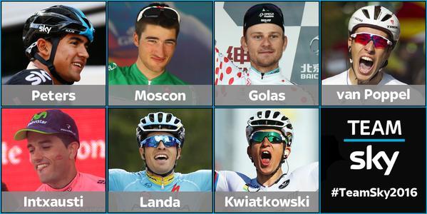 Ланда, Квятковски, Д. Ван Поппель, Голась, Инчаусти и Москон в команде Sky в 2016 году