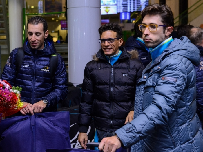 Встреча команды Astana Pro Team в аэропорту Астаны