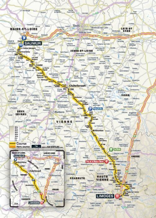Тур де Франс-2016, превью этапов: 4 этап, Сомюр - Лимож, 237.5  км