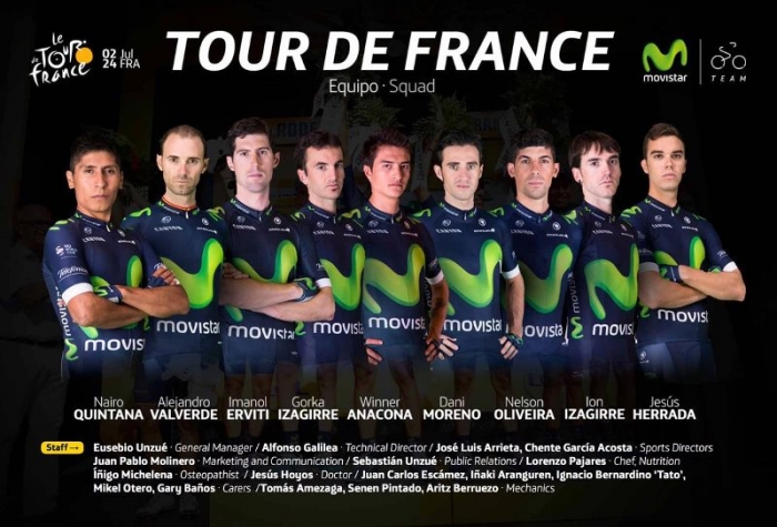 Состав команды Movistar на Тур де Франс-2016