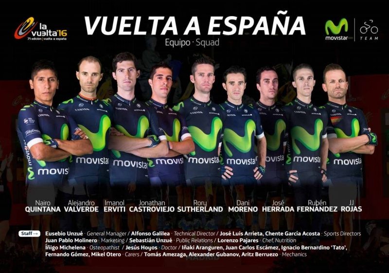 Алехандро Вальверде и Наиро Кинтана - капитаны команды Movistar на Вуэльту Испании-2016