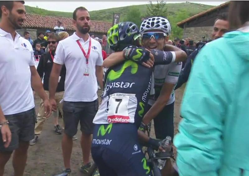 Наиро Кинтана - лидер общего зачёта, Алехандро Вальверде в зелёной майке после 10-го этапа Вуэльты Испании-2016