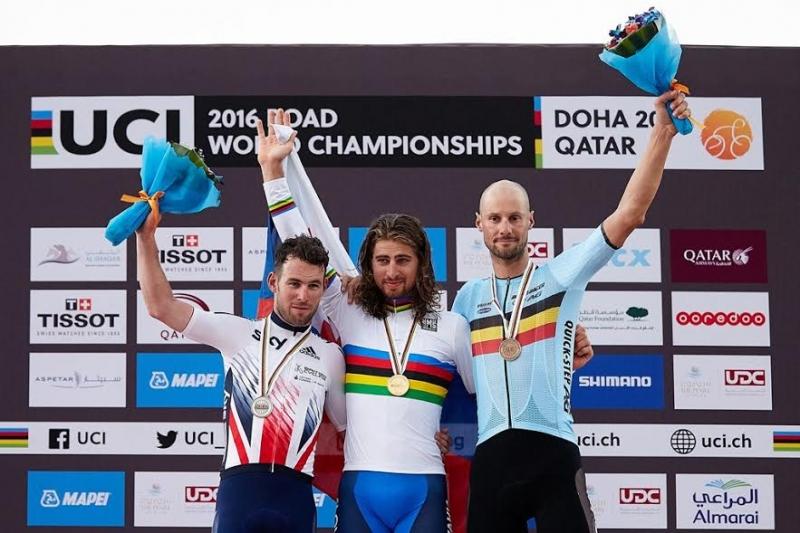 Марк Кэвендиш и Том Боонен - призёры чемпионата мира по велоспорту-2016 в групповой гонке