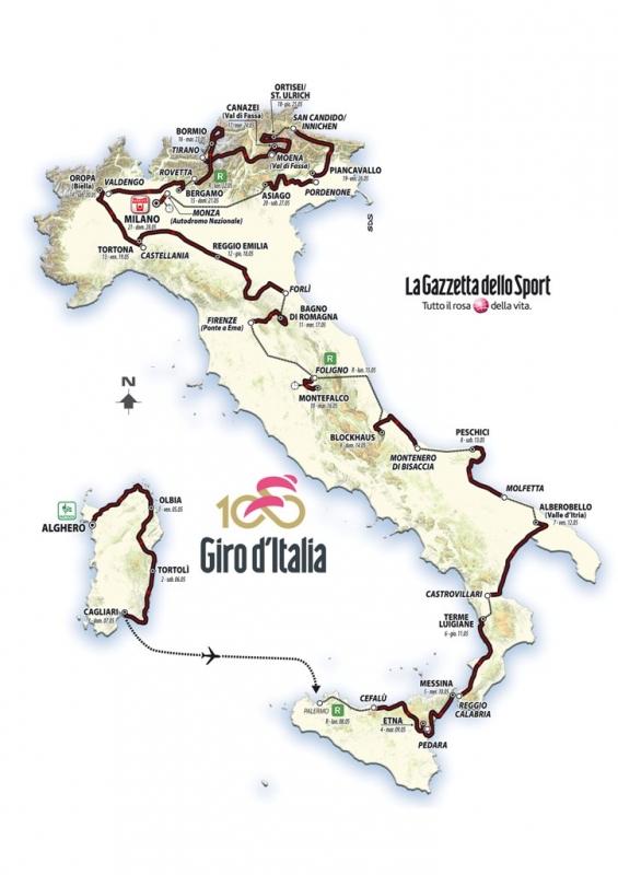 Джиро д'Италия-2017. Карта маршрута
