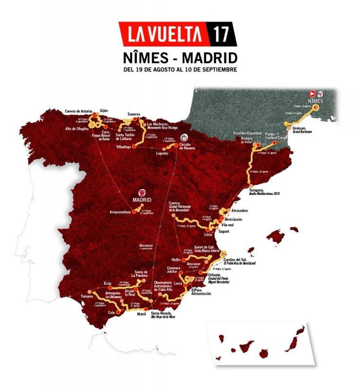 Вуэльта Испании-2017. Карта эатапов