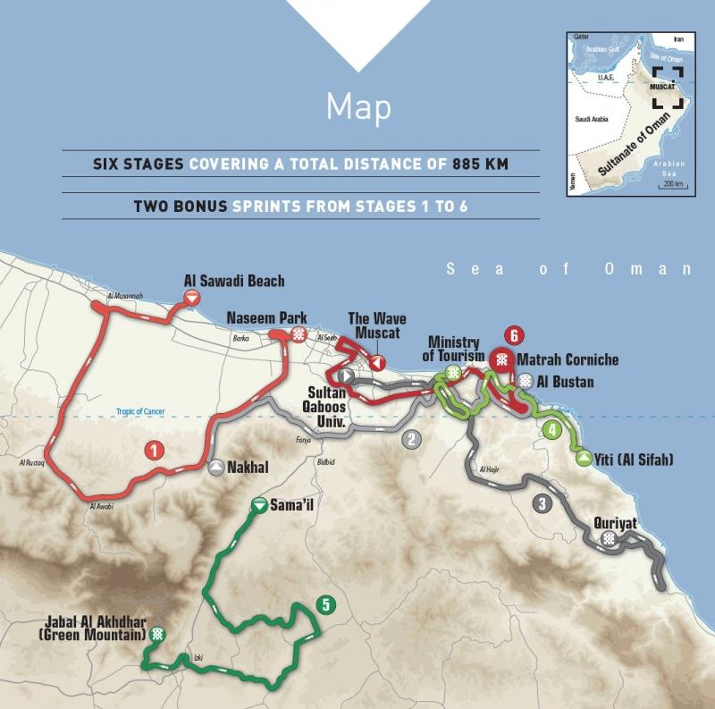 Тур Омана-2017. Маршрут