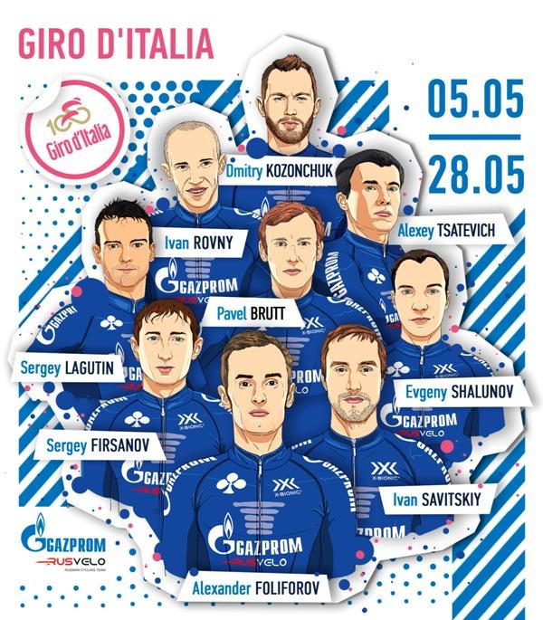 Состав команды Gazprom – RusVelo на Джиро д'Италия-2017