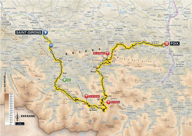 Тур де Франс-2017. Альтиметрия маршрута - 13 этап