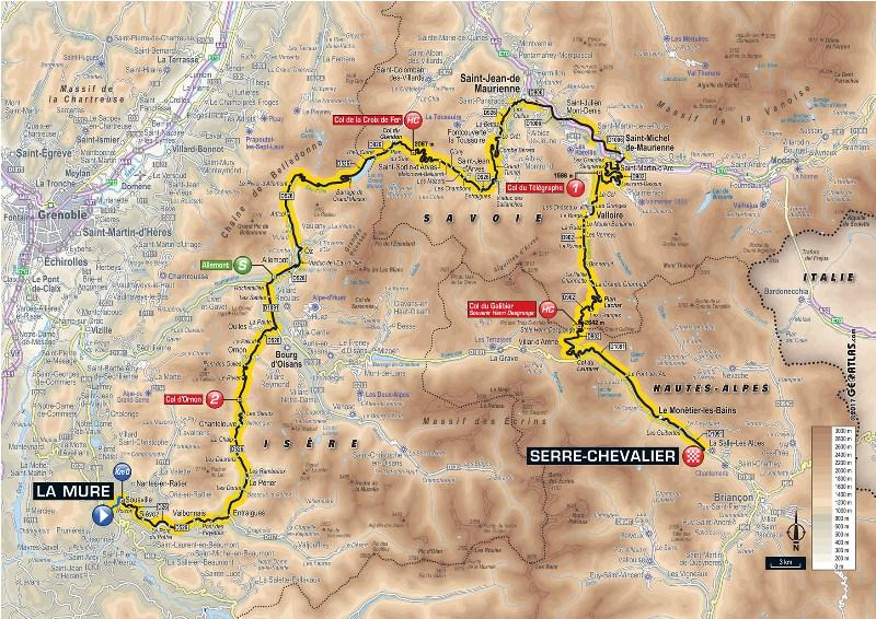 Тур де Франс-2017. Альтиметрия маршрута - 17 этап