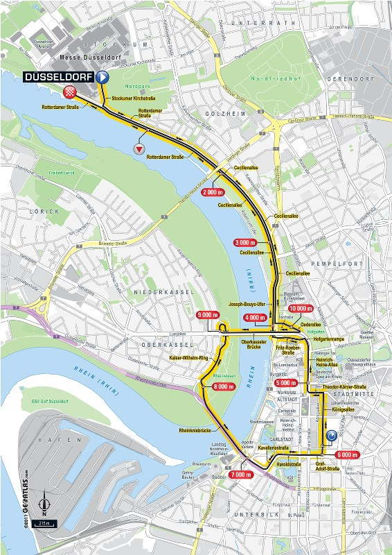Тур де Франс-2017. Альтиметрия маршрута - 1 этап