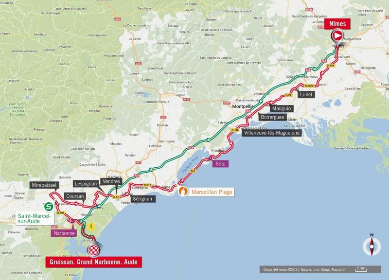Вуэльта Испании-2017, превью этапов: 2 этап, Ним – Грюиссан (Франция), 203.4 км