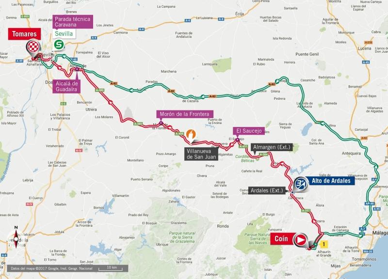 Вуэльта Испании-2017, превью этапов: 13 этап, Коин – Томарес, 198,4 км