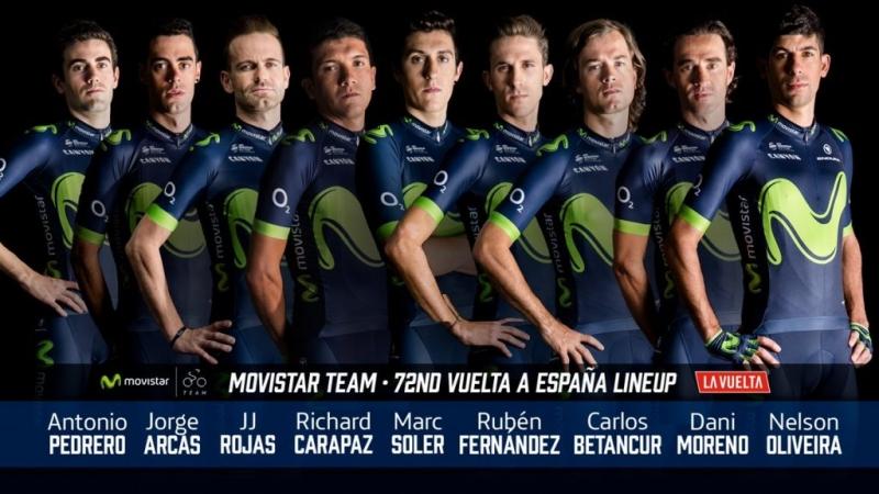 Состав команды Movistar на Вуэльту Испании-2017