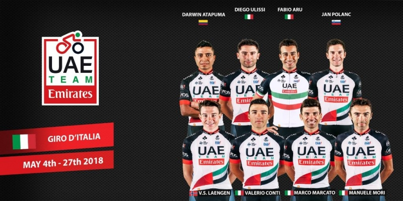 Состав команды UAE Team Emirates на Джиро д'Италия-2018