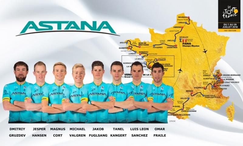 Состав команды Astana на Тур де Франс-2018
