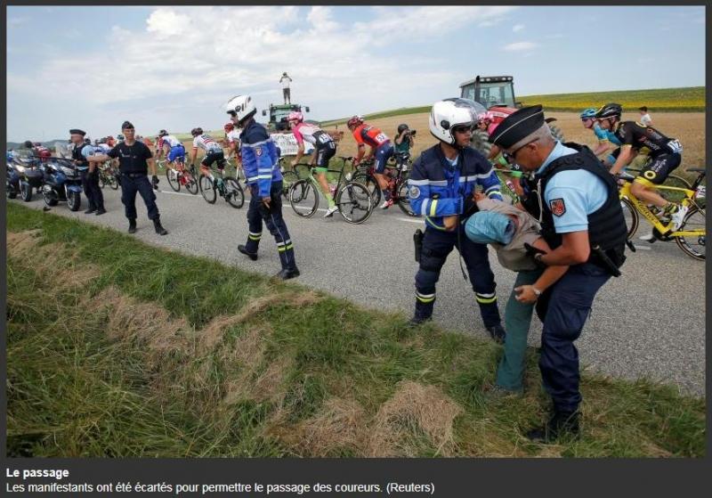 Протест фермеров остановил 16-й этап Тур де Франс-2018