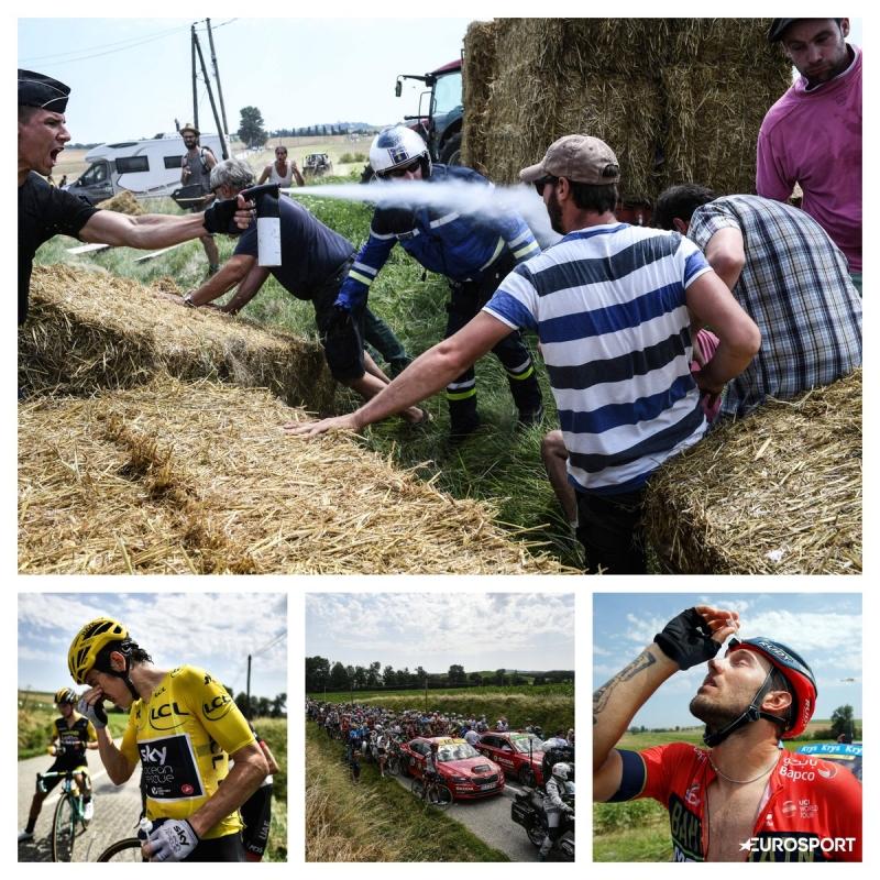 16-й этап Тур де Франс-2018 был прерван на 20 минут из-за протеста фермеров