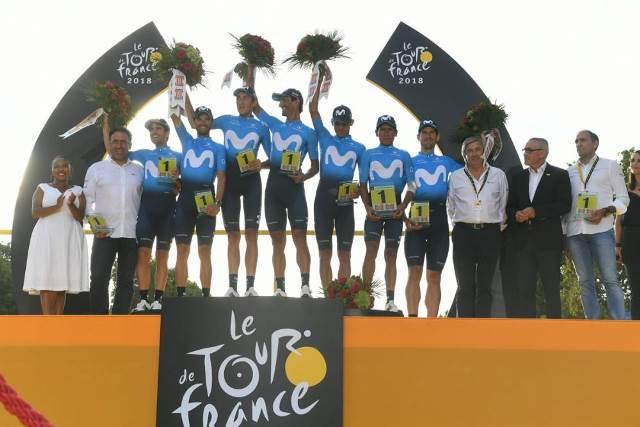 команда Movistar завершила Тур де Франс-2018 на первом месте в командном зачёте