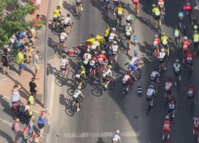 Завал на 6-м этапе Вуэльты Испании-2018