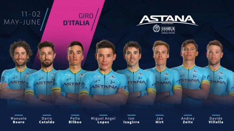 Состав команды Astana на Джиро д'Италия-2019