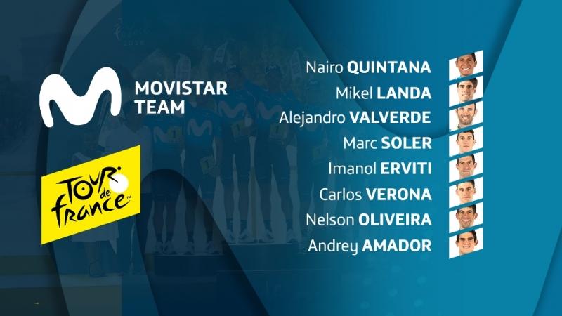 Состав команды Movistar на Тур де Франс-2019