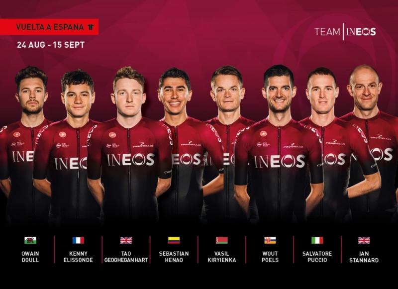 Состав команды Ineos на Вуэльту Испании-2019