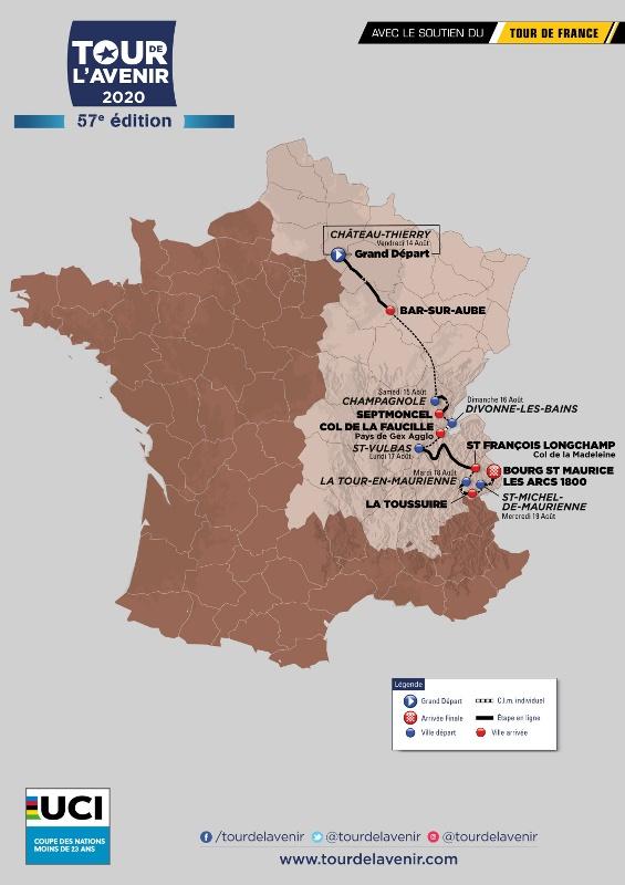Tour de l'Avenir пройдёт с 14 по 19 августа 2020 года