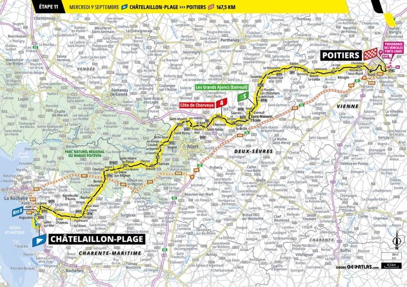 Тур де Франс-2020, превью этапов: 11 этап, Шателайон-Пляж - Пуатье